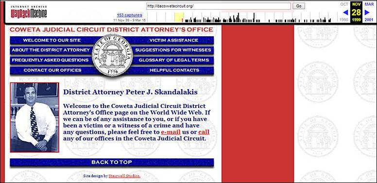 Coweta Judicial Circuit District Attorney's website 1999 screenshot at the Internet Archive