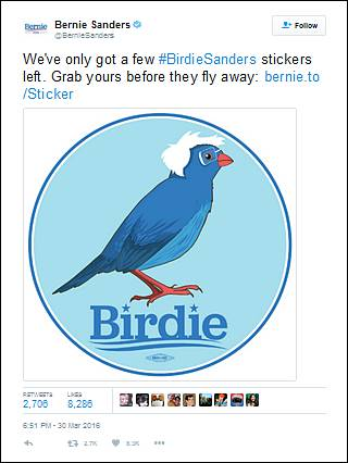 Bernie Sanders - Birdie Sanders tweet, March 30, 2016