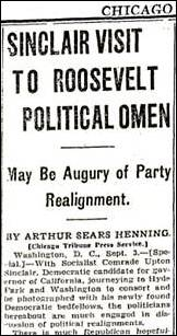 Sinclair Visit to Roosevelt Political Omen. Chicago Daily Tribune (newspaper), September 4, 1934, page 6