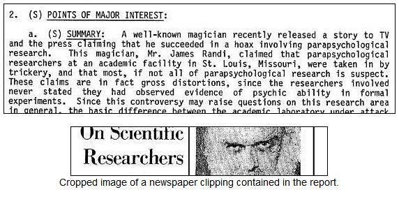 1983 Defense Intelligence Agency report on James Randi's Project Alpha hoax