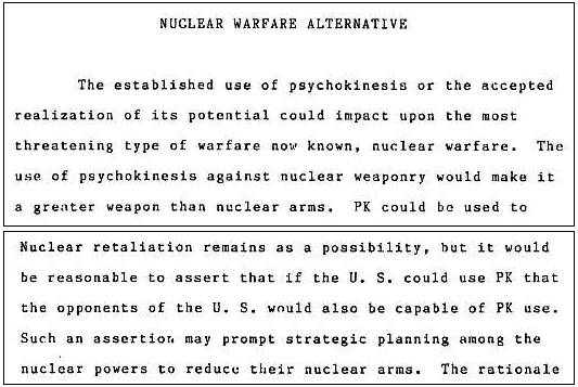 Psychokinesis and Its Possible Implication to Warfare Strategy
