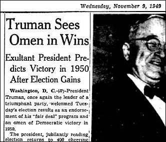 Truman Sees Omen in Wins. The Milwaukee Journal (newspaper), November 9, 1949, page 2