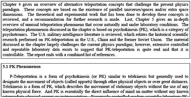 US Government Interest in Telekinesis and Psychokinesis