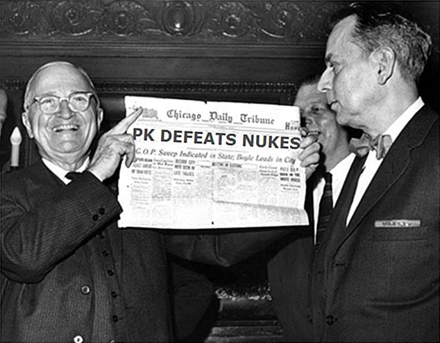 Dewey Defeats Truman newspaper headline parody